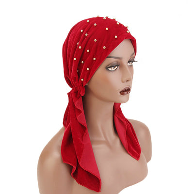 Candy Velvet Beaded Bandanna Chemo Hat Pre-Tied Headwear Bandana Tichel for Cancer Headcovering Red