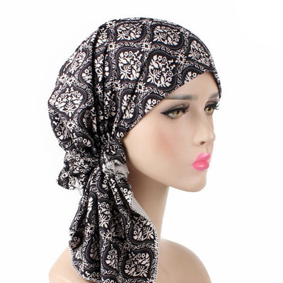 Catarina_Patterned_Bandana_Turban_Bandanna_Cancer hat_Chemo hat_Beanie hat_Black