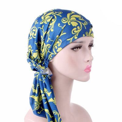 Catarina_Patterned_Bandana_Turban_Bandanna_Cancer hat_Chemo hat_Beanie hat_Blue