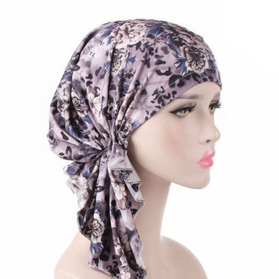 Catarina_Patterned_Bandana_Turban_Bandanna_Cancer hat_Chemo hat_Beanie hat_Gray