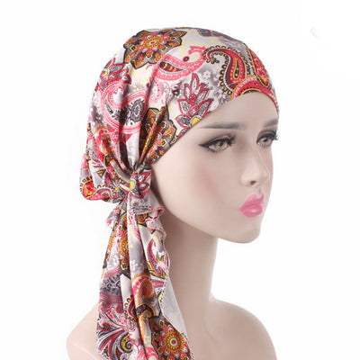 Catarina_Patterned_Bandana_Turban_Bandanna_Cancer hat_Chemo hat_Beanie hat_Orange