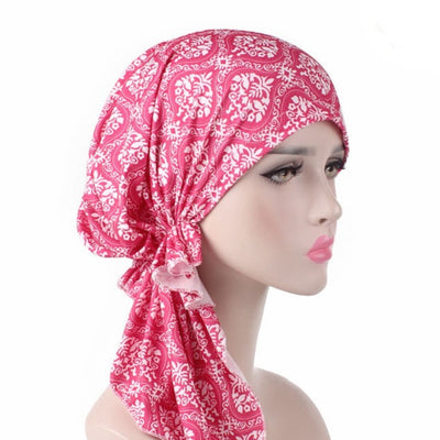 Catarina_Patterned_Bandana_Turban_Bandanna_Cancer hat_Chemo hat_Beanie hat_Pink