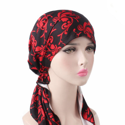 Catarina_Patterned_Bandana_Turban_Bandanna_Cancer hat_Chemo hat_Beanie hat_Red-2