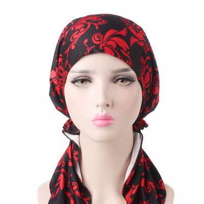 Catarina_Patterned_Bandana_Turban_Bandanna_Cancer hat_Chemo hat_Beanie hat_Red-5