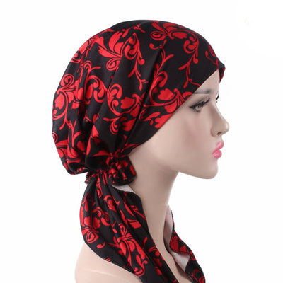 Catarina_Patterned_Bandana_Turban_Bandanna_Cancer hat_Chemo hat_Beanie hat_Red-3