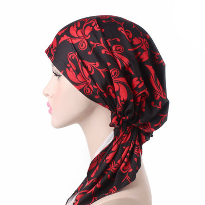 Catarina_Patterned_Bandana_Turban_Bandanna_Cancer hat_Chemo hat_Beanie hat_Red-6