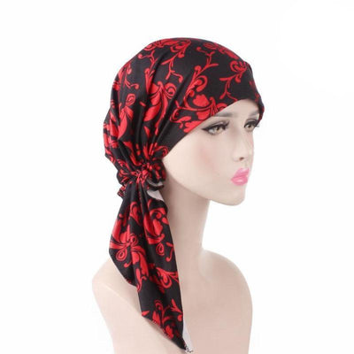 Catarina_Patterned_Bandana_Turban_Bandanna_Cancer hat_Chemo hat_Beanie hat_Red