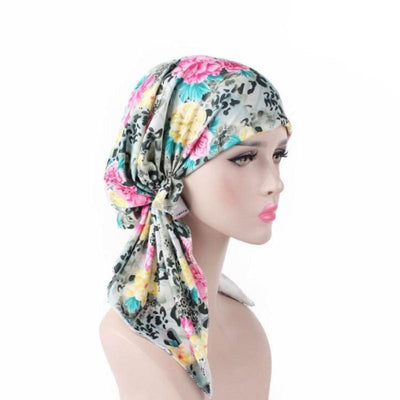Catarina_Patterned_Bandana_Turban_Bandanna_Cancer hat_Chemo hat_Beanie hat_Yellow
