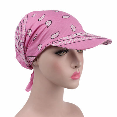 Catherine Bandanna Hat_Head covering_hat_Cap_Baggy_Beret_Beanie_Chemo_hat_headcovers_Pink