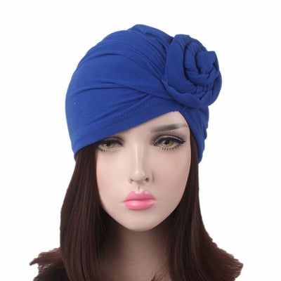 Celia Flower Turban_Turbans_Head_covering_Modest_Floral_Headcovers_Blue
