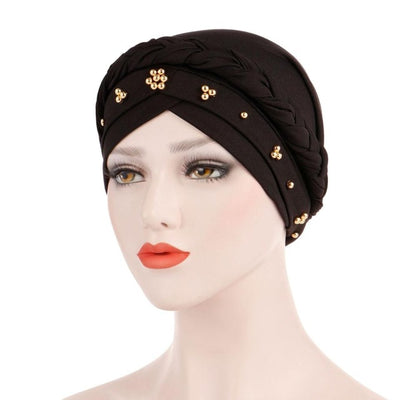 Charlize Cotton Braided Headwrap Women Muslim Hijab Solid Color Natural Hair African Accessories Cotton Bandanas Beaded Braid Turban_Black