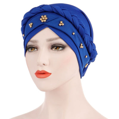 Charlize Cotton Braided Headwrap Women Muslim Hijab Solid Color Natural Hair African Accessories Cotton Bandanas Beaded Braid Turban_Blue
