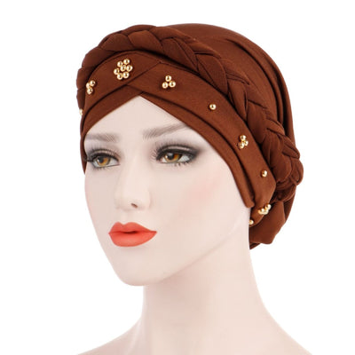 Charlize Cotton Braided Headwrap Women Muslim Hijab Solid Color Natural Hair African Accessories Cotton Bandanas Beaded Braid Turban_Brown