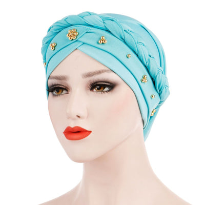 Charlize Cotton Braided Headwrap Women Muslim Hijab Solid Color Natural Hair African Accessories Cotton Bandanas Beaded Braid Turban_Cyan