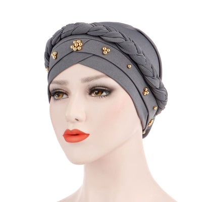 Charlize Cotton Braided Headwrap Women Muslim Hijab Solid Color Natural Hair African Accessories Cotton Bandanas Beaded Braid Turban_Gray