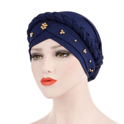 Charlize Cotton Braided Headwrap Women Muslim Hijab Solid Color Natural Hair African Accessories Cotton Bandanas Beaded Braid Turban_Navy_Blue