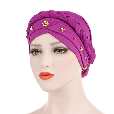 Charlize Cotton Braided Headwrap Women Muslim Hijab Solid Color Natural Hair African Accessories Cotton Bandanas Beaded Braid Turban_Purple