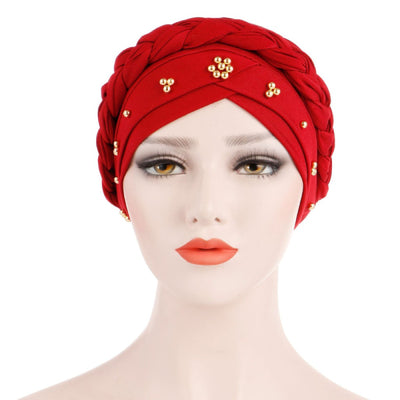 Charlize Cotton Braided Headwrap Women Muslim Hijab Solid Color Natural Hair African Accessories Cotton Bandanas Beaded Braid Turban_Red-2