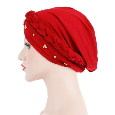 Charlize Cotton Braided Headwrap Women Muslim Hijab Solid Color Natural Hair African Accessories Cotton Bandanas Beaded Braid Turban_Red-Side