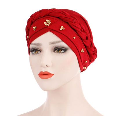 Charlize Cotton Braided Headwrap Women Muslim Hijab Solid Color Natural Hair African Accessories Cotton Bandanas Beaded Braid Turban_Red