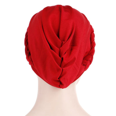 Charlize Cotton Braided Headwrap Women Muslim Hijab Solid Color Natural Hair African Accessories Cotton Bandanas Beaded Braid Turban_Red-Back