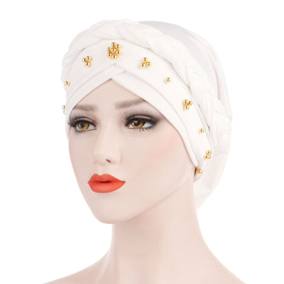 Charlize Cotton Braided Headwrap Women Muslim Hijab Solid Color Natural Hair African Accessories Cotton Bandanas Beaded Braid Turban_White