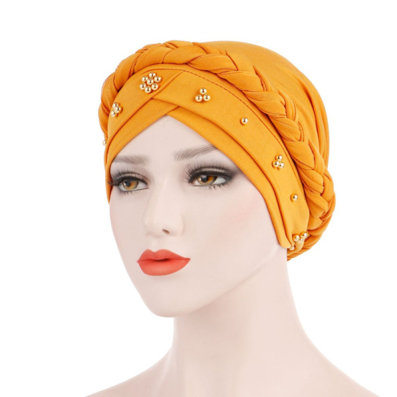 Charlize Cotton Braided Headwrap Women Muslim Hijab Solid Color Natural Hair African Accessories Cotton Bandanas Beaded Braid Turban_Yellow