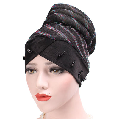 Charlotte Strips Turban_Cap_Chemo_Striped_Head covering_Modest_Headcovers_Black