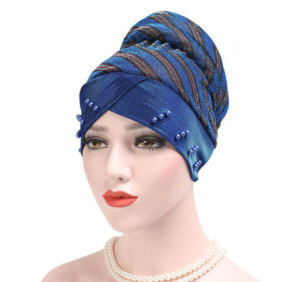 Charlotte Strips Turban_Cap_Chemo_Striped_Head covering_Modest_Headcovers_Blue