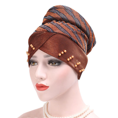 Charlotte Strips Turban_Cap_Chemo_Striped_Head covering_Modest_Headcovers_Brown