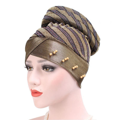 Charlotte Strips Turban_Cap_Chemo_Striped_Head covering_Modest_Headcovers_Gold