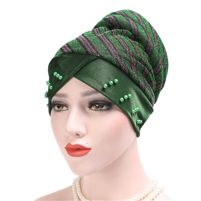 Charlotte Strips Turban_Cap_Chemo_Striped_Head covering_Modest_Headcovers_Green