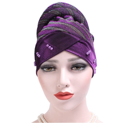 Charlotte Strips Turban_Cap_Chemo_Striped_Head covering_Modest_Headcovers_Purple-3