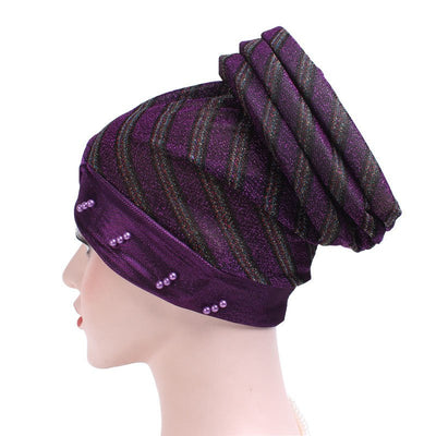 Charlotte Strips Turban_Cap_Chemo_Striped_Head covering_Modest_Headcovers_Purple-2