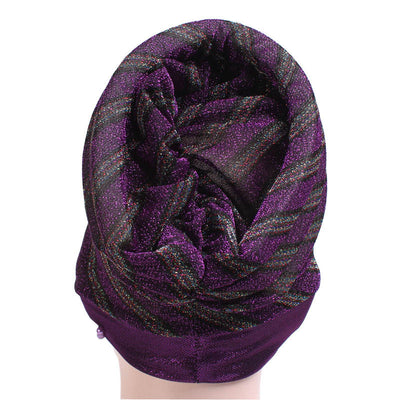 Charlotte Strips Turban_Cap_Chemo_Striped_Head covering_Modest_Headcovers_Purple-4
