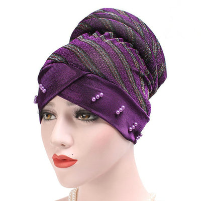 Charlotte Strips Turban_Cap_Chemo_Striped_Head covering_Modest_Headcovers_Purple