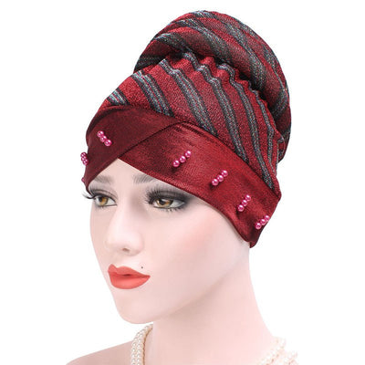 Charlotte Strips Turban_Cap_Chemo_Striped_Head covering_Modest_Headcovers_Red