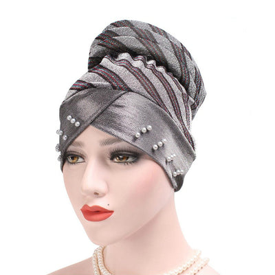 Charlotte Strips Turban_Cap_Chemo_Striped_Head covering_Modest_Headcovers_Silver