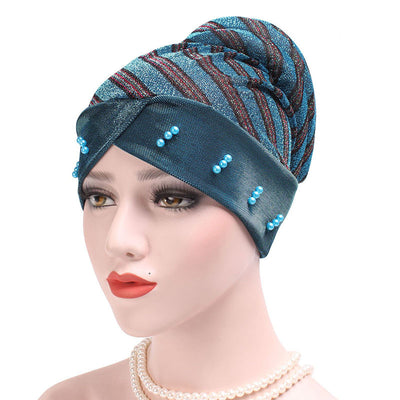 Charlotte Strips Turban_Cap_Chemo_Striped_Head covering_Modest_Headcovers_Teal