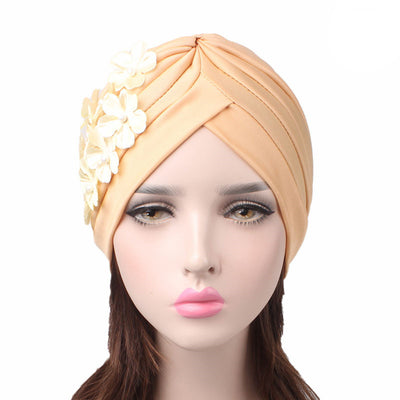 Christine_Floral_Turban_Turbans_Head_covering_Modest_Headcovers_Cancer hat_Beige-3