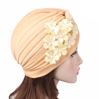 Christine_Floral_Turban_Turbans_Head_covering_Modest_Headcovers_Cancer hat_Beige-4