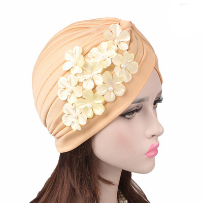 Christine_Floral_Turban_Turbans_Head_covering_Modest_Headcovers_Cancer hat_Beige-5
