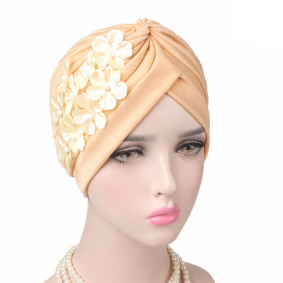 Christine_Floral_Turban_Turbans_Head_covering_Modest_Headcovers_Cancer hat_Beige