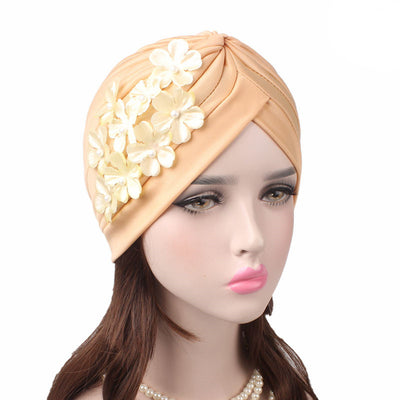 Christine_Floral_Turban_Turbans_Head_covering_Modest_Headcovers_Cancer hat_Beige-2