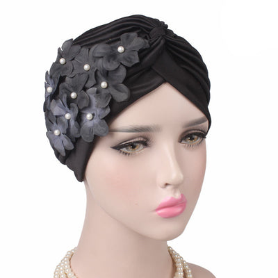 Christine_Floral_Turban_Turbans_Head_covering_Modest_Headcovers_Black