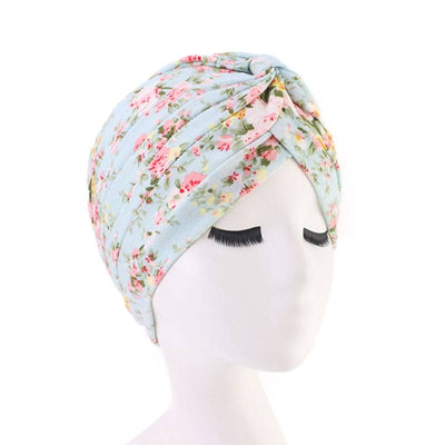 Claudia Cotton Printed Turban Shop Online Headcovering Cancer Hat Basic Hijab For Woman Floral Headwrap For Sabbath-Baby blue