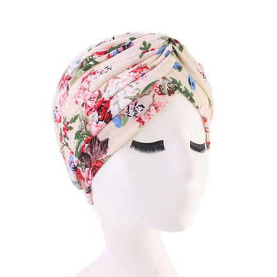Claudia Cotton Printed Turban Shop Online Headcovering Cancer Hat Basic Hijab For Woman Floral Headwrap For Sabbath-Beige