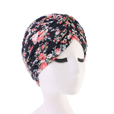 Claudia Cotton Printed Turban Shop Online Headcovering Cancer Hat Basic Hijab For Woman Floral Headwrap For Sabbath-Black