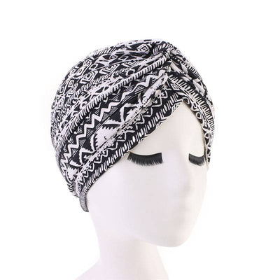 Claudia Cotton Printed Turban Shop Online Headcovering Cancer Hat Basic Hijab For Woman Floral Headwrap For Sabbath-Black and White