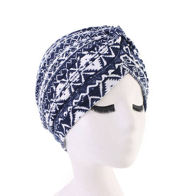 Claudia Cotton Printed Turban Shop Online Headcovering Cancer Hat Basic Hijab For Woman Floral Headwrap For Sabbath-Blue